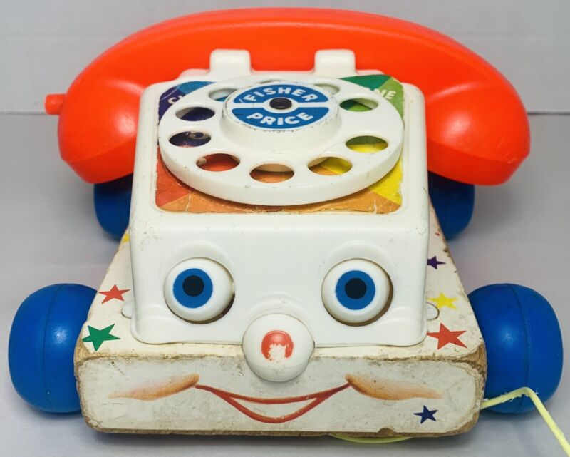 Vintage 1961 Fisher Price Chatter Telephone Pull Toy Wood with Moving Eyes 747