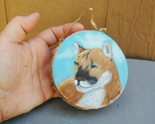"Miniature Drum Hand Painted Cougar Cat Picture Signed Galinido 3 7/8"" Hide Wood"