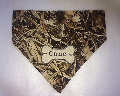 Dog Bandana, Grassy Camo, Hunting, Scarf, Personalized, Over the Collar, Gift