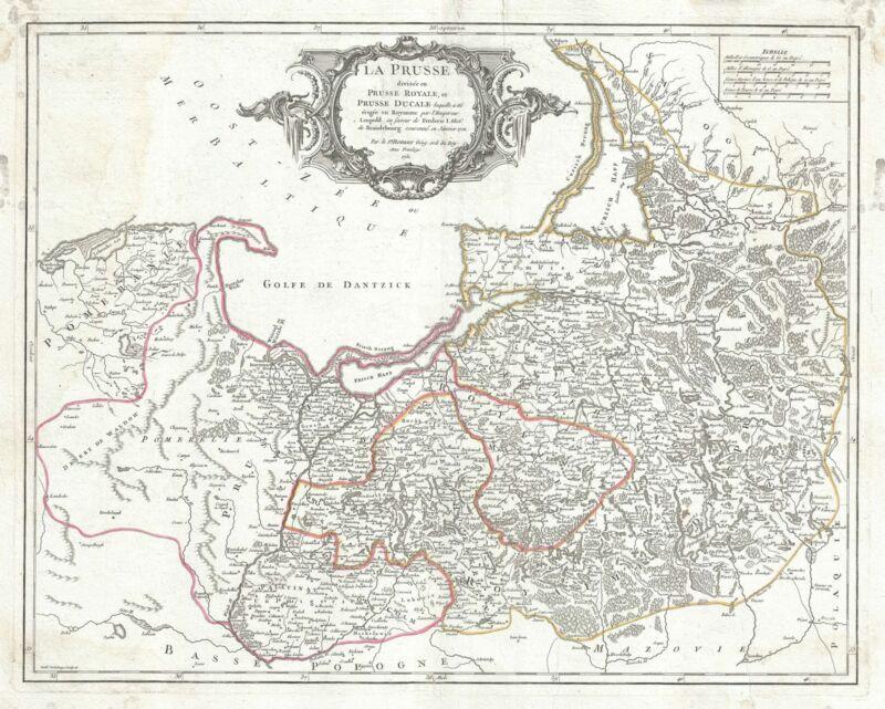 1751 Vaugondy Map of Prussia