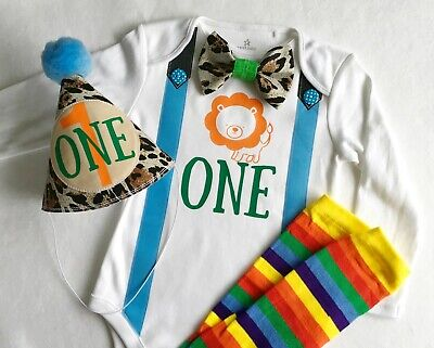 Jungle Lion Boys Theme 1st Birthday Boy Bow Tie Bodysuit Outfit - First Birthday Boy Themes