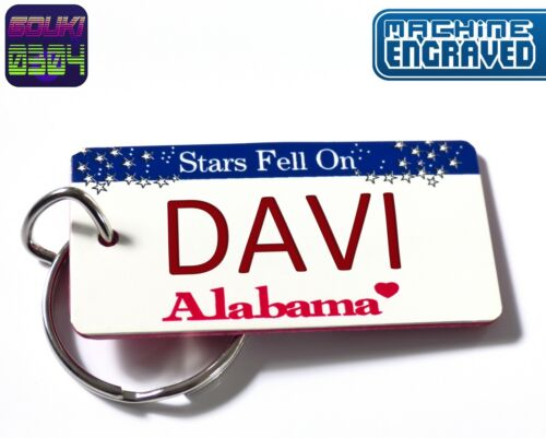 Personalized Alabama Keychain - License Plate Tag - Custom Engraved - Vintage