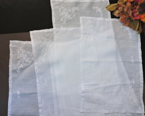 Antique/ Vintage white Madeira placemats  with embroidery  set of 8