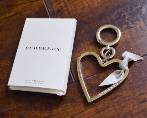 NEW Burberry Key Bag Charm Heart Silver color