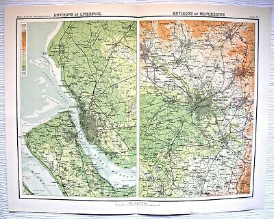 Environs Map plate -C1900 Bartholomew -Royal Atlas Of England/Wales (From Atlas)