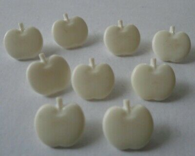 9 APPLE  SHAPED  SMALL DECORATIVE  PLASTIC BUTTONS  AS SHOWN