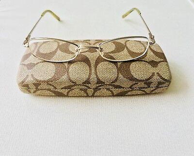 COACH 'JAMIE' Gold Turquoise Stone Rectangular Oval Full Rim Eyeglasses ~ (Coach Turquoise Glasses)