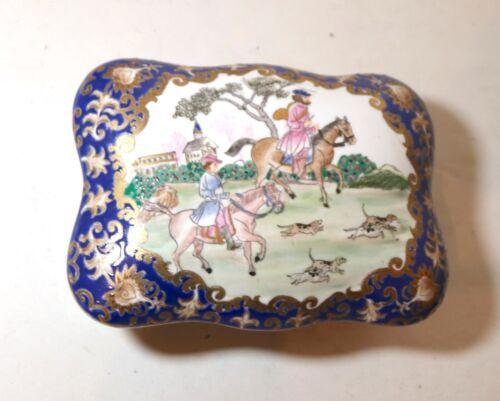 large antique hand painted enameled porcelain hunting scene dresser casket box