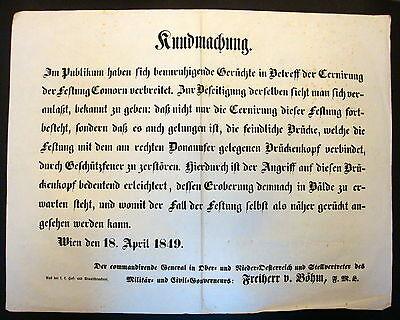 Plakat  WIEN 1849 REVOLUTION Verkündigung MILITÄR KUNDMACHUNG Proklamation ( 1