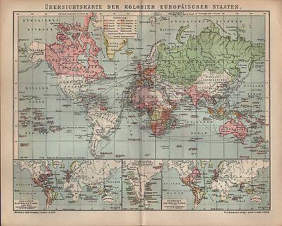Landkarte map 1902: Übersichtskarte Kolonien Europäischer Staaten Mitte 17. Jh.