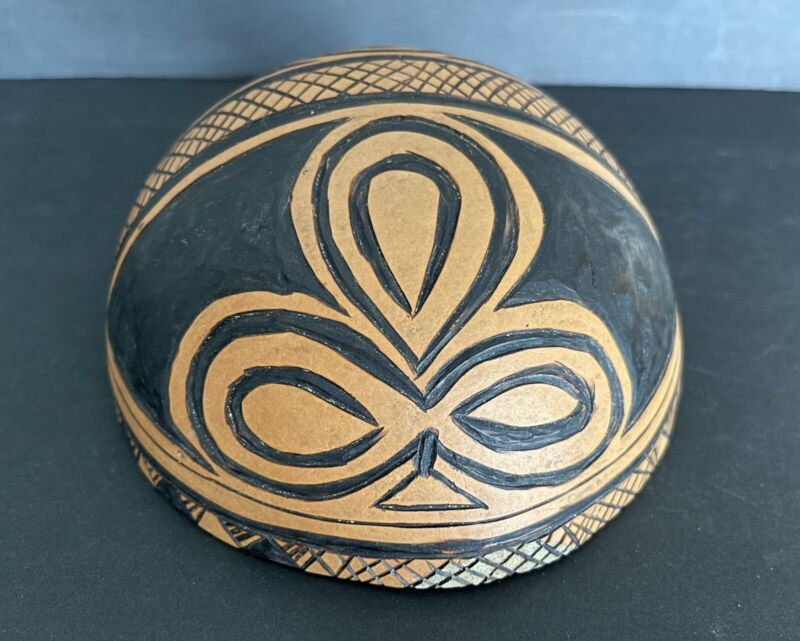 Vintage Hand Pained African Half Gourd Bowl Art