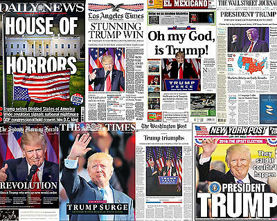 Donald Trump President 8x10 Photo Newspaper Headlines NY Post Times Daily News