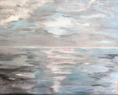 Beautiful Abstract Seascape Oil Painting Grey, Blue and White Tones