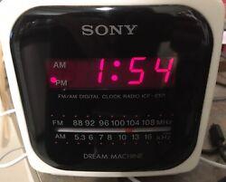 SONY Dream Machine Clock Radio Alarm AM/FM Cube Model ICF-C121 Red LED Tested
