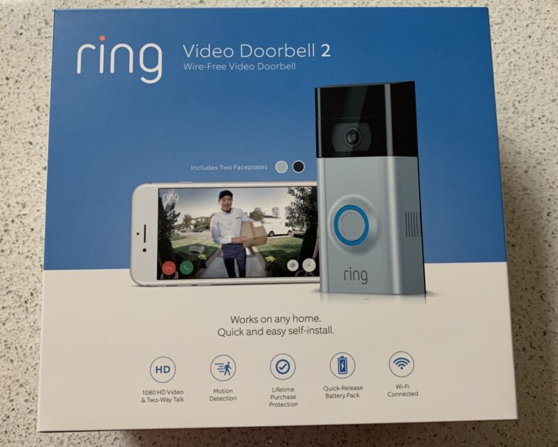 Ring Video Doorbell 2 - 1080 HD WiFi BRAND NEW Factory Sealed! $199 Retail!!!