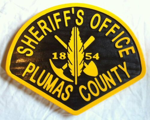 Plumas County Sheriff 3D routed wood Patch Plaque Sign Custom