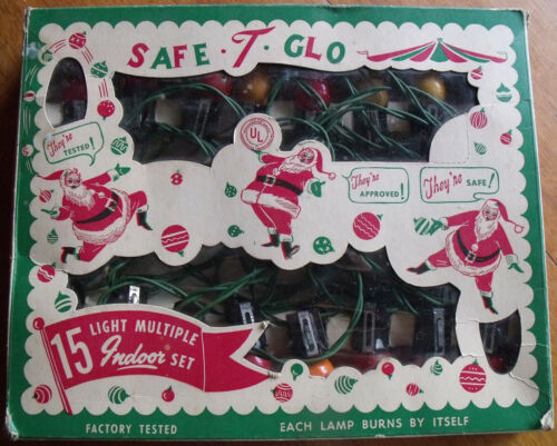 Vintage Set of Safe-T-Glo Christmas Tree Lights String in Original Box  157J