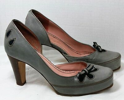 ANTHROPOLOGIE SHOES MISS ALBRIGHT PLATFORM PUMP GRAY LEATHER HEELS 40S PIN UP 38