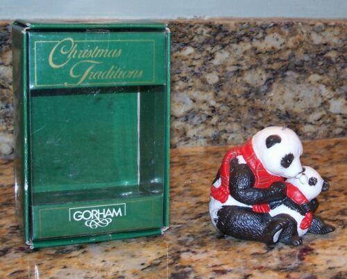 Vintage Gorham Mother Panda Bear With Cub Christmas Tree Ornament Figurine G6439