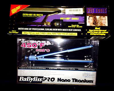 "Babyliss Nano Titanium Ultra Thin Flat Iron (1"" inch)  + FREE Hot Tools Curler"