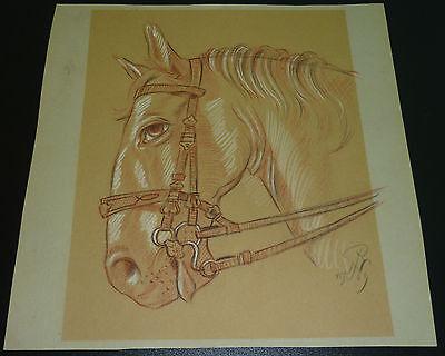 Pferdekopf Gemälde Monogramm von 1969 Pferd Pferde Pferdesport