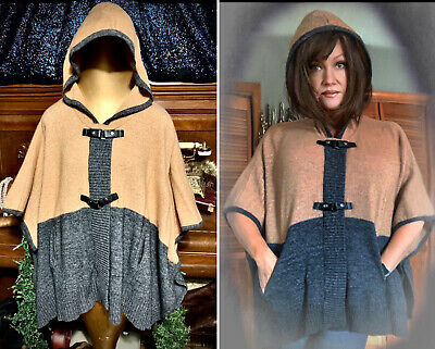 Max Studios Poncho Cape Sweater Hooded Caftan Lambs Wool Shirt Lounge Top S M L