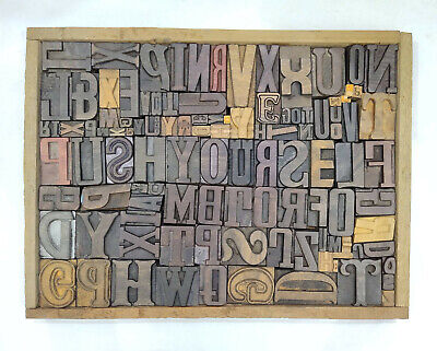 Letterpress Wood Types Collage Push Yourself 107 Vintage Mixed Wooden Typetc18