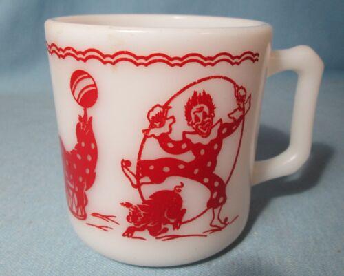 CIRCUS Clown & Animals Milk Glass MUG