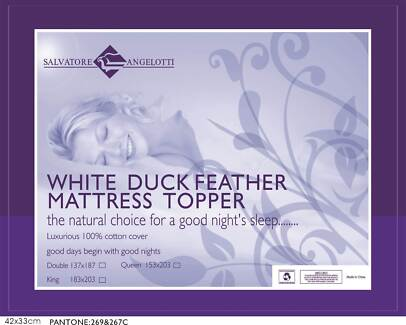 Queen Mattress Topper - 100% Duck Feather
