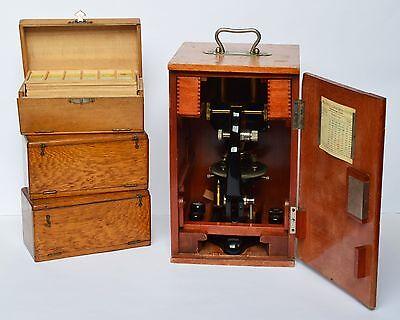 Großes Stereomikroskop Emil Busch AG Rathenow 24355 um 1900 + Zubehör