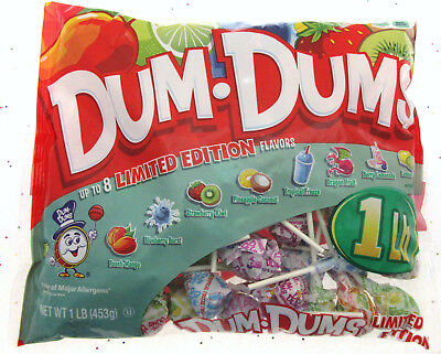 Dum Dums ~ 8 Limited Edition Flavors ~ Lollipop Suckers Candy ~ 1 Lb - Dum Dum Flavors