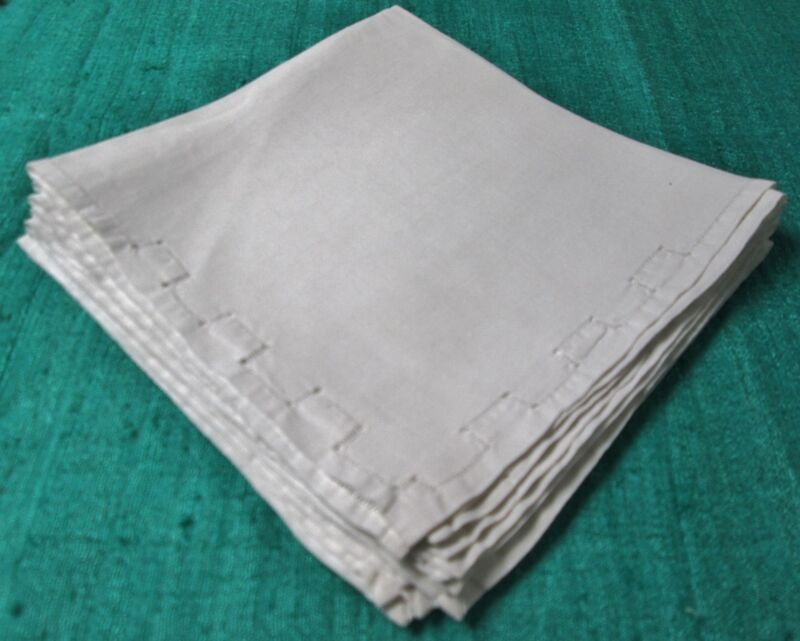 Antique Silky Linen 5 Napkins Hand Drawn Accents Hemstitched