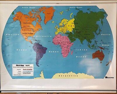 Pull Down School Maps 2 Layer U.S World. Vintage, Salvage, Old, Antique.