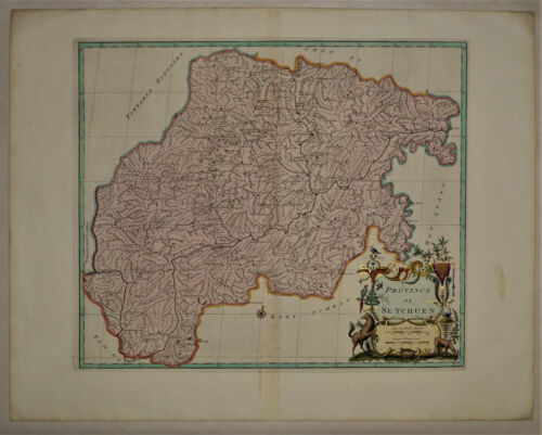 1737 Genuine Antique map China Province, de Se-Tchuen, exquisite. by D