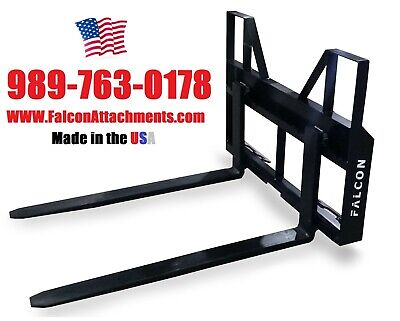 2000 Lb Falcon Skid Steer Tractor Pallet Forks. Adjustable Made In The Usa