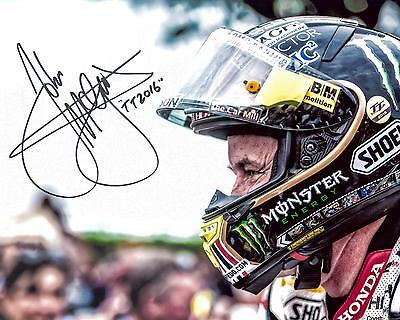 John McGuinness - 2016 Isle of Man TT Signed 10 x 8 Senior Race Helmet Picture