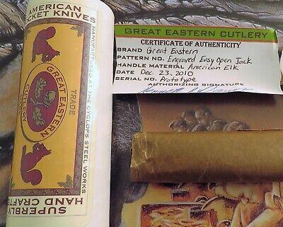 Great Eastern American Elk Easy Open Jack Knife Engraved Bolsters PROTOTYPE NR