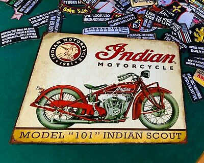 INDIAN MOTORCYCLES MODEL 101 Tin Metal Sign Wall w/ FREE PATCH decor vintage man