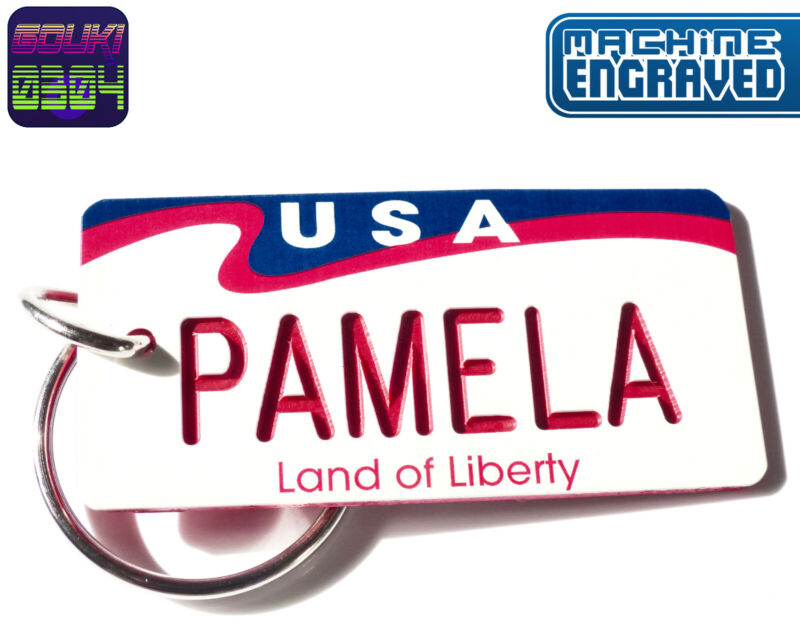 Personalized USA Land of Liberty Keychain Tag - Any Name Souvenir- Retro America