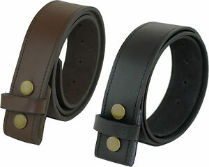 MENS-LEATHER-ASHFORD-RIDGE-PRESS-STUD-SNAP-ON-CLIP-BELT-BLACK-BROWN-OWN-BUCKLE