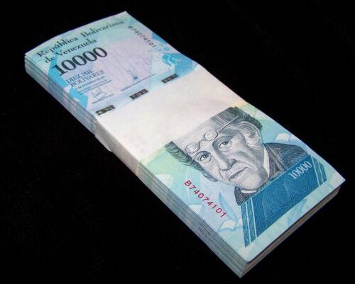 100 x Venezuela 10,000 (10000) Bolivares, 2016/2017 banknotes / currency bundle