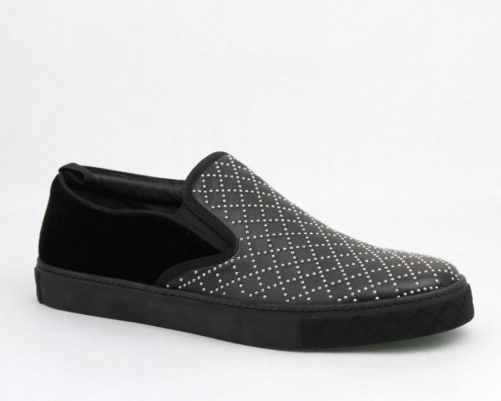 $595 Gucci Men's Studded Leather Suede Slip-on Shoe Sneaker Black 322758 1000