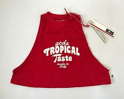 GCDS Printed Cropped Top in Rosso Size Small - Made in Italy - NEW