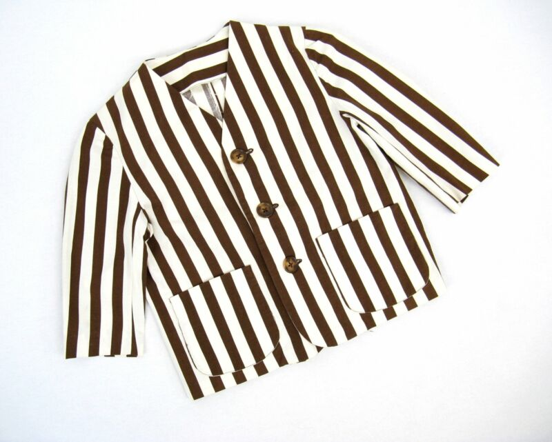 Vintage 50s 1950s Boys Cotton Brown and White Striped Blazer Child Size