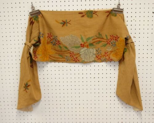 ANTIQUE CREWEL EMBROIDERY CURTAIN SWAG Floral Design #3