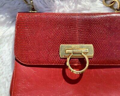 VINTAGE SALVATORE FERRAGAMO RED LEATHER Handbag Purse ITALY