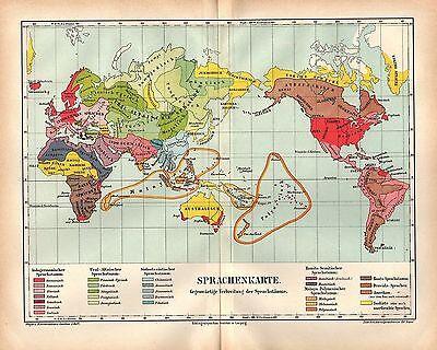 Sprachenkarte Welt Sprachstämme   Historische Landkarte 1878