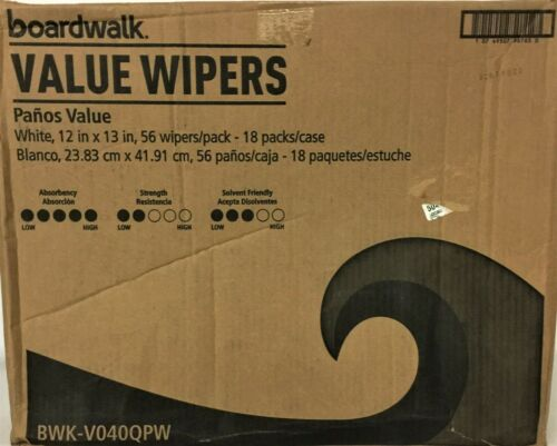 "Boardwalk Value Wipers, White, 12"" x 13"", 56/PK, 18/Case, BWKV040QPW"