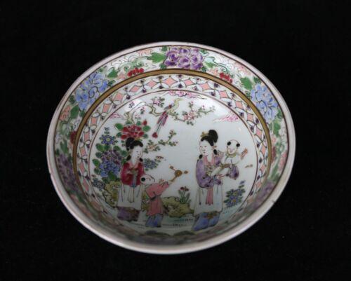 "Antique Japanese Famille Rose Porcelain Bowl Figurative Scene 4.75""D"