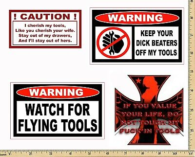 - Funny Warning Stickers - Complete set of 4 Decals - Sexy Girl Tool Box MADE USA